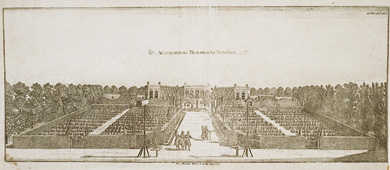 Engraving with a perspective view over The Linnaeus Garden, Hortus Upsaliensis, 1770.