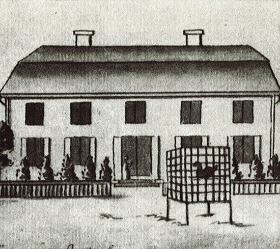 An illustration from 1794 of the manor, drawn in black ink and wash on white paper. A two storeyed house with a gambrel roof and two chimneys. On the ground floor are four windows, two on either side of a door, all with opened shutters. The first floor has five evenly distributed windows without shutters. In the foreground of the picture is a cubic birdcage on four legs, housing one black bird. Between the courtyard with the birdcage and the manor is a low fence opened in its centre. The artist is Johan Gustaf Härstedt, 1756-1820.