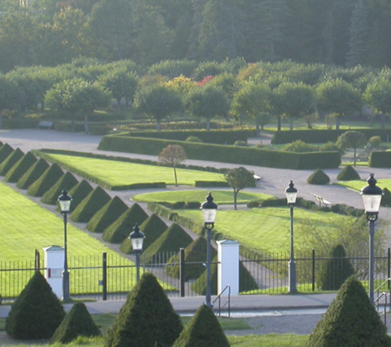 Photo of The Baroque Garden in The Botanical Garden, with trimmed pyramid shaped spruces.